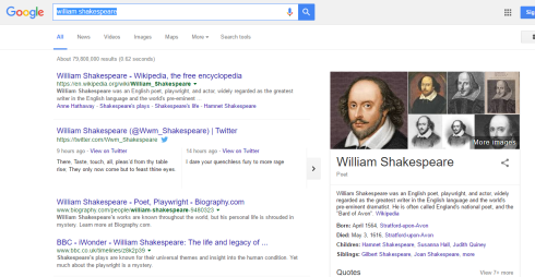Knowledge panel showing key facts about William Shakespeare